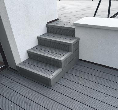 Wykończenie schodów listwą kątową- deska Standard jasny szary