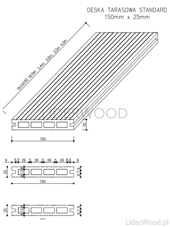 deska kompozytowa6 1 - Deska Tarasowa Kompozytowa Standard Teak - dł. 3,5m