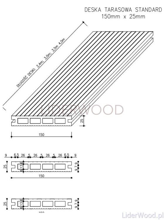 deska kompozytowa6 - Deska Tarasowa Kompozytowa Standard Antracyt - dł. 4m