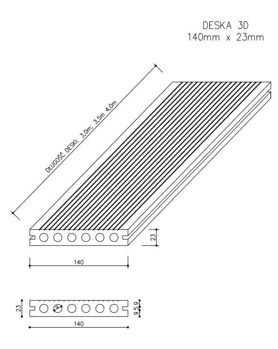 rysunek tech deska 3d - Deska Tarasowa Kompozytowa 3D Teak - dł. 3m
