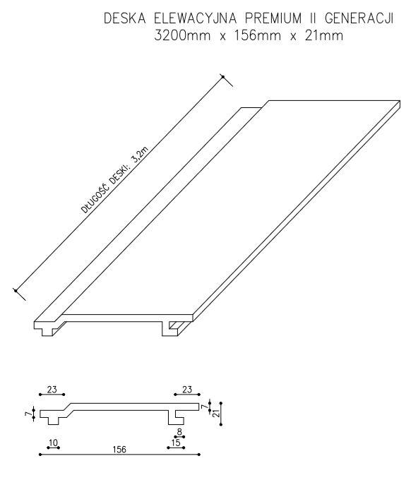 rysunek tech deska elewacyjna II generacji - Deska Elewacyjna Kompozytowa Premium Złoty Dąb - dł. 3,2m