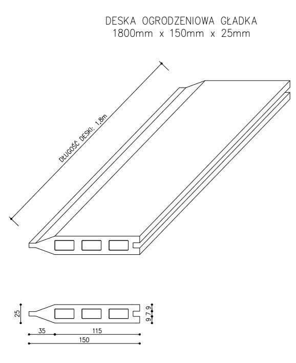 rysunek tech deska ogrodzeniowa - Deska Ogrodzeniowa Antracyt - dł. 1,8m