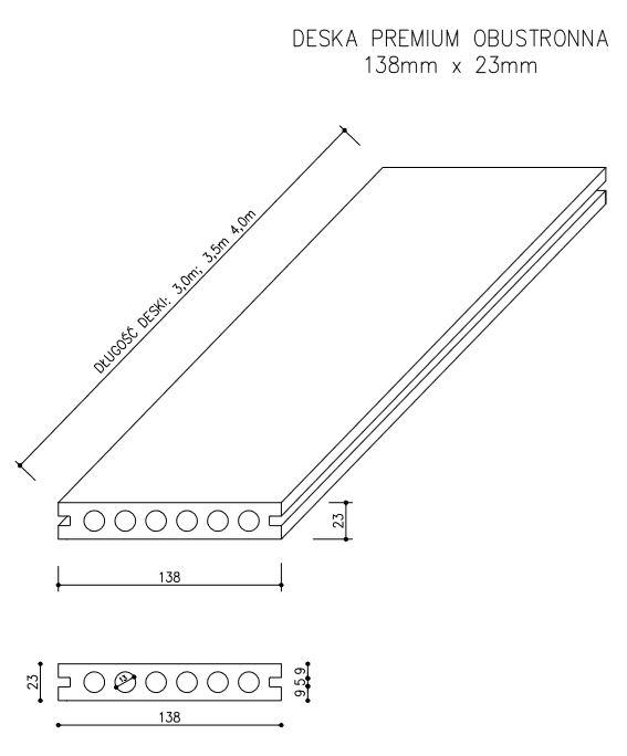 rysunek tech deska tarasowa premium - Deska Tarasowa Kompozytowa Premium Antracyt - dł. 3m