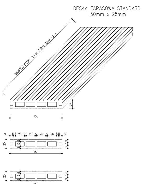 rysunek tech deska tarasowa standard - Deska Tarasowa Kompozytowa Standard Jasny Szary - dł. 4m