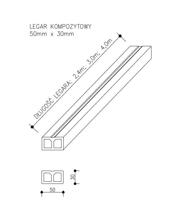 rysunek tech legar kompozytowy  - Legar Kompozytowy - dł. 3m