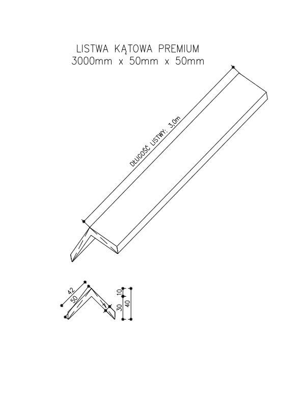 rysunek tech listwa kątowa premium  - Listwa Kompozytowa Kątowa Premium Gray - dł. 3m