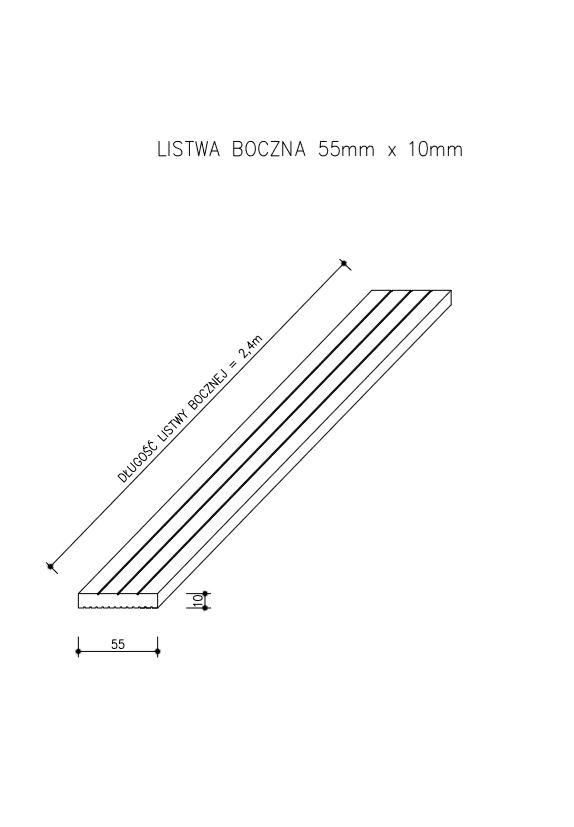 rysunek tech listwa prosta standard - Listwa Kompozytowa Maskująca Standard/3D Ciemny Brąz - dł. 2,4m