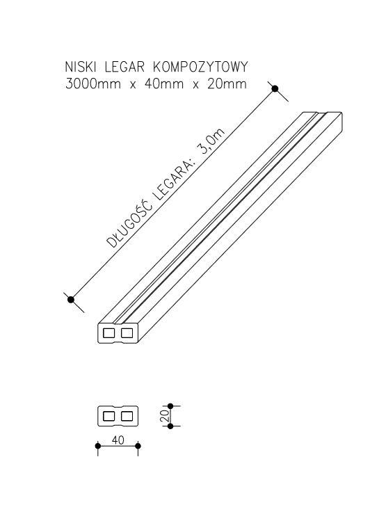 rysunek tech niski legar kompozytowy  - Legar Kompozytowy Niski - dł. 3m