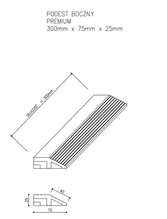 rysunek tech podest premium boczny - Podest Tarasowy Kompozytowy Premium Boczny Złoty Dąb