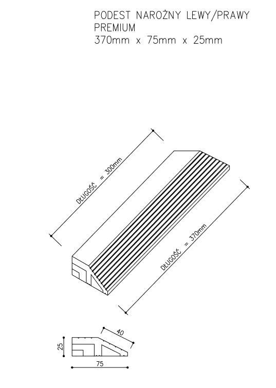 rysunek tech podest premium narożny - Podest Tarasowy Kompozytowy Premium Narożny Prawy Złoty Dąb