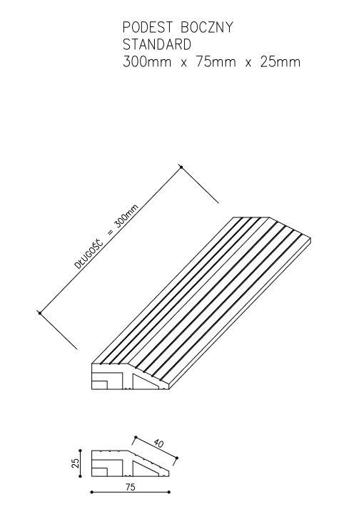 rysunek tech podest standard boczny - Podest Tarasowy Kompozytowy Boczny Antracyt