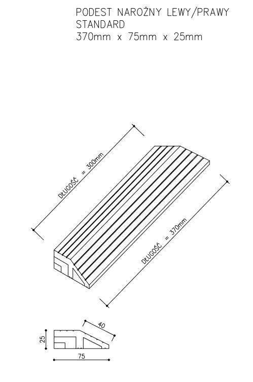 rysunek tech podest standard narożny - Podest Tarasowy Kompozytowy Narożny Prawy Ciemny Brąz