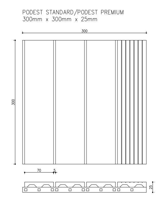 rysunek tech podest standard premium - Podest Tarasowy Kompozytowy Ciemny Brąz 30 x 30 x 2,5cm
