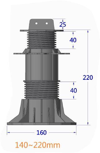 wspornik ETL 140 220mm - Wspornik Tarasowy Regulowany pod legar ETL 140-220mm