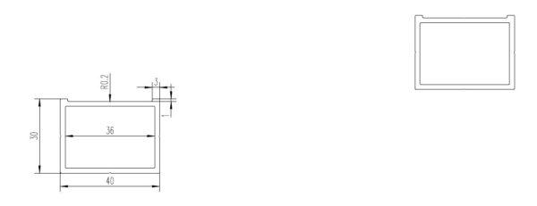 legar 40x30 profil do L7 przekrój 600x231 - Legar Aluminiowy 40x30 - dł. 4m