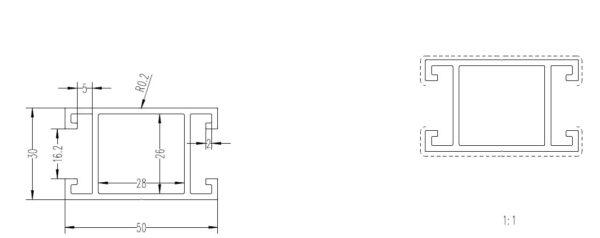 legar 50x30 konstrukcyjny przekrój 600x238 - Legar Aluminiowy 50x30 - dł. 4m