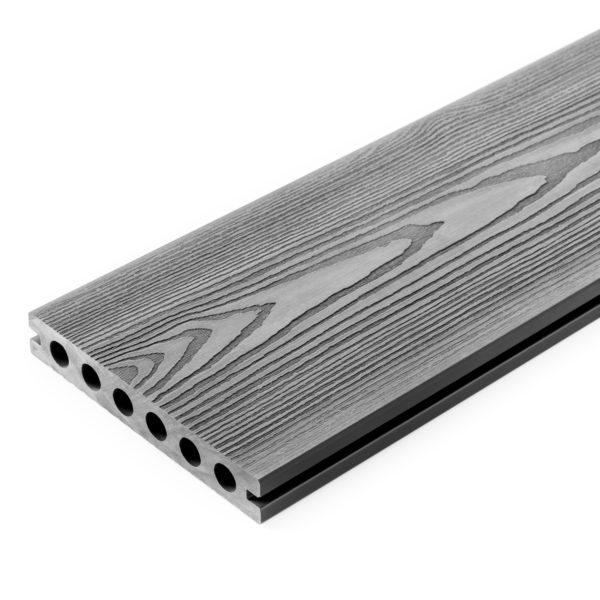 3D jasny szary desen 600x600 - Deska Tarasowa Kompozytowa 3D Szary - dł. 4m