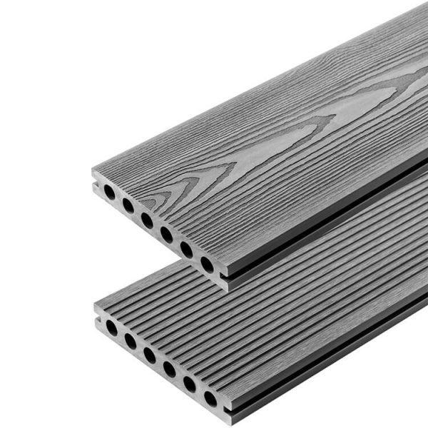 Deska kompozytowa tarasowa 3D Szary 600x600 - Deska Tarasowa Kompozytowa 3D Jasny Szary - dł. 3m