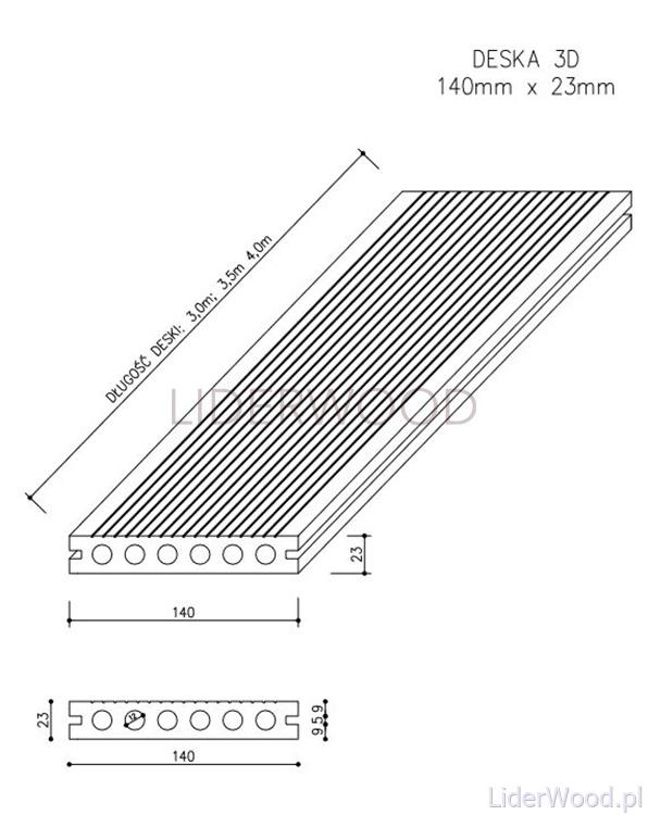deska kompozytowa4 - Deska Tarasowa Kompozytowa 3D Jasny Szary - dł. 3m