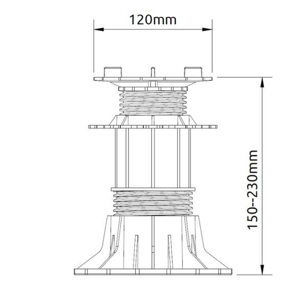 wspornik tarasowy regulowany samopoziomujacy pod plyty etp flex 150mm 230mm2 600x600 - Wspornik Tarasowy Regulowany Samopoziomujący Pod Płyty ETP Flex 150-230mm