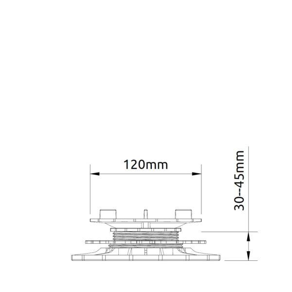 wspornik tarasowy regulowany samopoziomujacy pod plyty etp flex 30mm 45mm2 600x600 - Wspornik Tarasowy Regulowany Samopoziomujący Pod Płyty ETP Flex 30-45mm