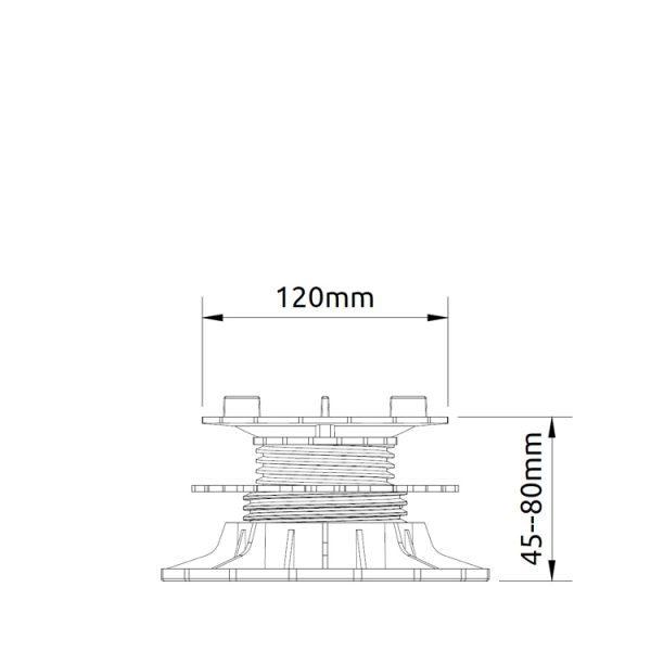 wspornik tarasowy regulowany samopoziomujacy pod plyty etp flex 45mm 80mm2 600x600 - Wspornik Tarasowy Regulowany Samopoziomujący Pod Płyty ETP Flex 45-80mm