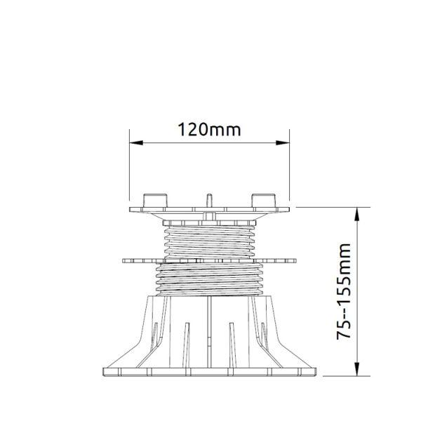wspornik tarasowy regulowany samopoziomujacy pod plyty etp flex 75mm 156mm2 600x600 - Wspornik Tarasowy Regulowany Samopoziomujący Pod Płyty ETP Flex 75-156mm