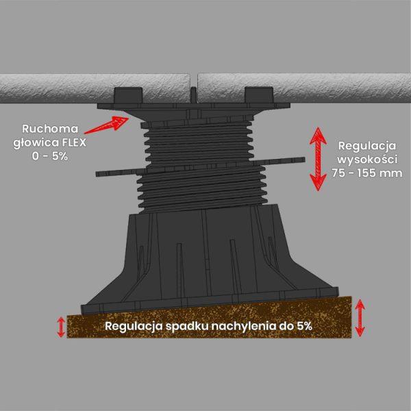 wspornik tarasowy regulowany samopoziomujacy pod plyty etp flex 75mm 156mm5 600x600 - Wspornik Tarasowy Regulowany Samopoziomujący Pod Płyty ETP Flex 75-156mm
